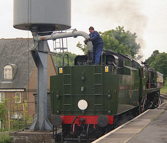 SR West Country and Battle of Britain classes - 34016 Bodmin taking water at Alton