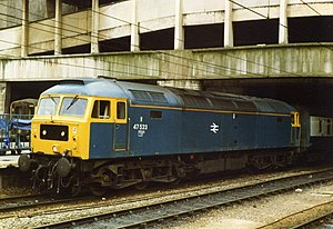 British Rail Class 47 - Class 47/4 No. 47 523 in standard BR Blue, at Birmingham New Street station in 1988