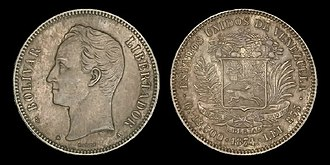 Coins of the Venezuelan venezolano - 50 centaves of Venezolano coin