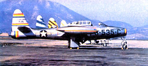 58th Operations Group - 58th Fighter-Bomber Group F-84E South Korea, 1952. Commander's aircraft 51-1535, other three squadrons aircraft shown in different tail markings