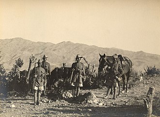 British Indian Army - The 5th Royal Gurkha Rifles in Waziristan during the Third Anglo-Afghan War.