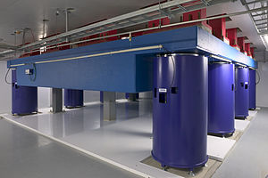 Centre for Metrology and Accreditation - Laboratory vibration damping. The mass of the blue concrete slab is 140 000 kg.