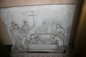 Christian burial - Fourth-century Christian burial depicted in relief at the Shrine of San Vittore in ciel d'oro, Basilica of Sant'Ambrogio, Milan.