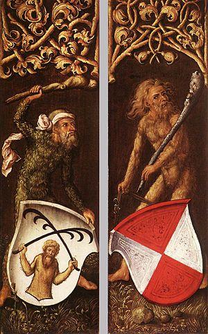 Wild man - Wild men support coats of arms in the side panels of a portrait by Albrecht Dürer, 1499 (Alte Pinakothek, Munich).