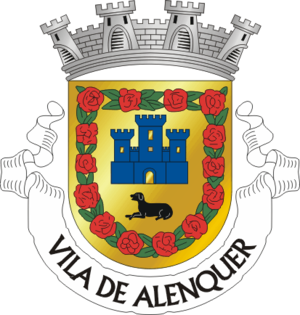 "Alans - Coat of arms of Alenquer, Portugal. According to a folk etymology, the name was previously Alan-kerk, meaning ""Alans' stronghold"" or ""Alans' church"" in Germanic languages (such as those of the Visigoths, Suebi and Vandals). The design includes an Alaunt, a breed of dog associated with the Alans."