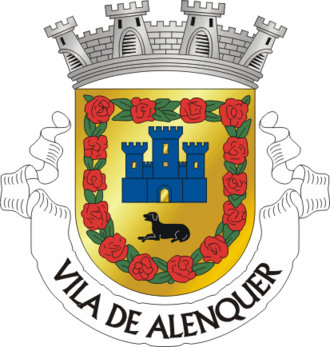 """Alans - Coat of arms of Alenquer, Portugal. According to a folk etymology, the name was previously Alan-kerk, meaning """"Alans' stronghold"""" or """"Alans' church"""" in Germanic languages (such as those of the Visigoths, Suebi and Vandals). The design includes an Alaunt, a breed of dog associated with the Alans."""