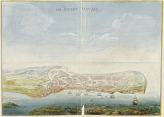 Portuguese Macau - Image: AMH 6030 NA Bird's eye view of the city of Macao