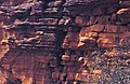 ASC Leiden - W.E.A. van Beek Collection - Dogon archaeology 01 - High in the steep rock face, the predecessors of the Dogon, the Tellem, built small shacks for burial of the dead, Tireli, Mali, 2005.jpg