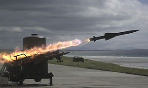 9 (Plassey) Battery Royal Artillery - A Rapier missile speeds towards its target during a live firing exercise.