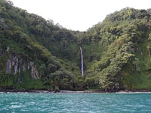 A waterfall at Wafer Bay, Cocos Island