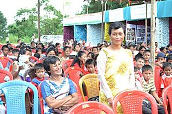A local woman asking about Govt. schemes during the interactive session, at the Public Information Campaign on Bharat Nirman, at Tynring, E. Khasi Hills district of Meghalaya on September 21, 2013
