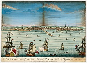 Boston - A south east view of the great town of Boston in New England in America, c. 1730