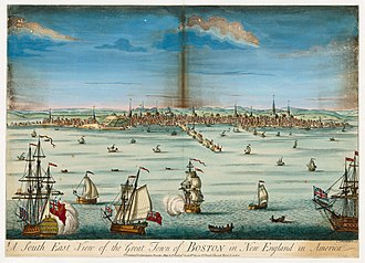Boston - A south east view of the great town of Boston in New England in America (c. 1730)