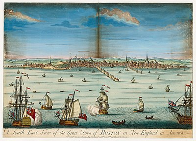 A south east view of the great town of Boston in New England in America (c. 1730) A south east view of the great town of Boston in New England in America (NYPL Hades-250999-465401).jpg