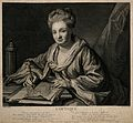 A woman drawing at a desk; representing optics. Engraving by Wellcome V0007540.jpg