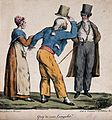 A young woman is holding the arm of man as he raises his hat Wellcome V0040071.jpg