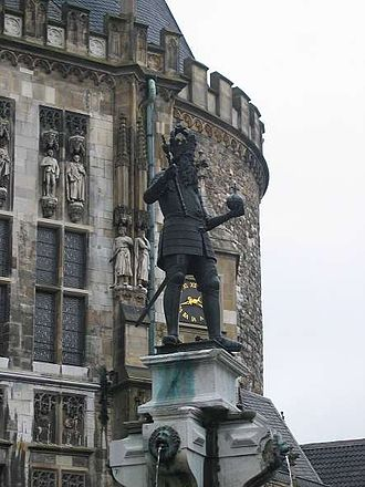 Palace of Aachen - Statue of Charlemagne in front of Aachen's city hall