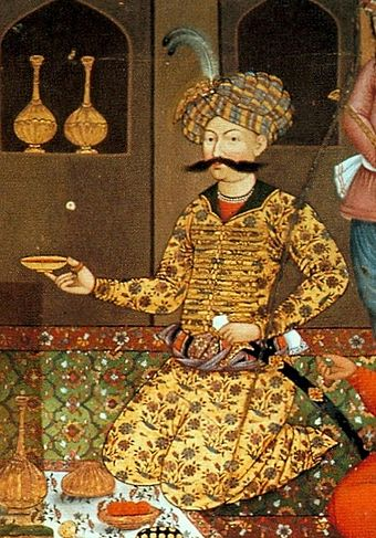 Abbas I as shown on one of the paintings in the Chehel Sotoun pavilion. Abbas I of Persia.jpg