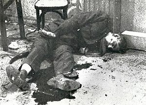 Photograph of Qasim's body after his execution