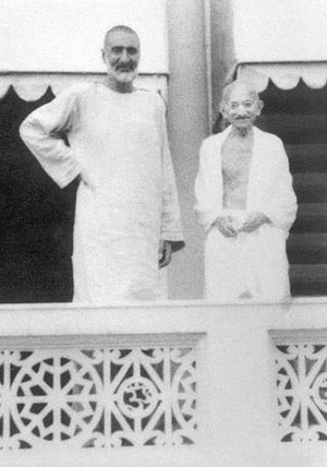 "Pashtuns - Leader of the non-violent Khudai Khidmatgar, also referred to as ""the Red shirts"" movement, Bacha Khan, standing with Mohandas Gandhi"