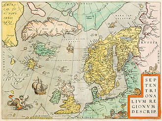 Erik the Red - Map of the northern region (including some fantasy islands) by Abraham Ortelius, ca. 1570