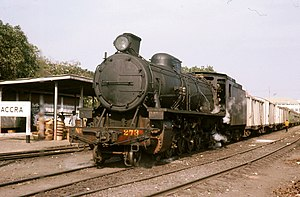 Steam locomotive at Accra in 1974