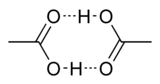 Циклический димер уксусной кислоты; штрихами показаны водородные связи.
