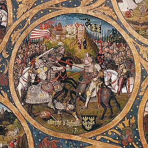 Adalbert, Margrave of Austria - Adalbert the Victorious with Archbishop Poppo of Trier watching, Babenberger Stammbaum, Klosterneuburg Monastery, 1489–1492