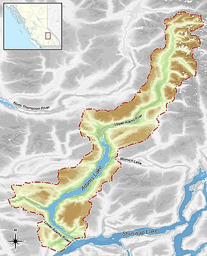 Adams River (British Columbia) - Drainage basin of the Adams River