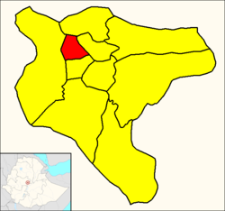 Addis Ketema (red) within Addis Ababa