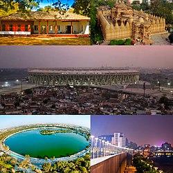 In senso orario da in alto a sinistra: Ashram Sabarmati, Tempio Hutheesing, Stadio Narendra Modi, Lungofiume Sabarmati, Lago Kankaria