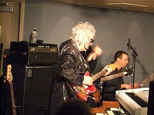 Al Kooper - Kooper (with guitar) celebrating his 68th birthday at the Regatta Bar in Cambridge, Massachusetts, Feb. 4, 2012