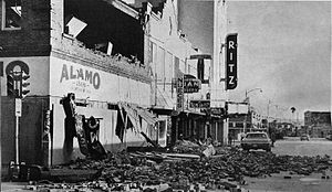 Hurricane Celia - Damaged building in Corpus Christi