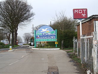 Allhallows, Kent - The entrance to the holiday park.