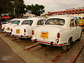 Ambassador Taxis Lined Up at Tiruchirappalli Junction - India.JPG