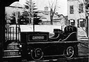 1883 in rail transport - Experimental electric locomotive Ampère, built by Leo Daft in 1883
