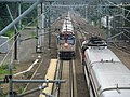 Amtrak 906 and Shore Line East train at Old Saybrook, August 2012.JPG