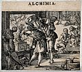 An alchemist stoking a furnace, surrounded by well dressed o Wellcome V0025521.jpg