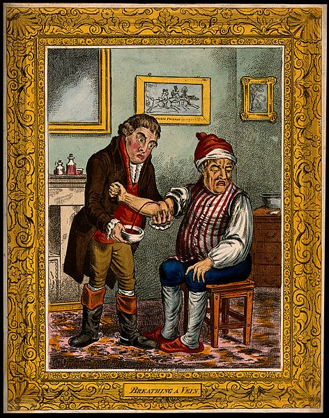 File:An ill man being bled by his doctor. Coloured etching after Wellcome V0011196.jpg