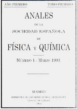 Spanish Royal Society of Chemistry - Cover of the first issue of the Annals of the Spanish Society of Physics and Chemistry, first publication of the precursor society RSEQ
