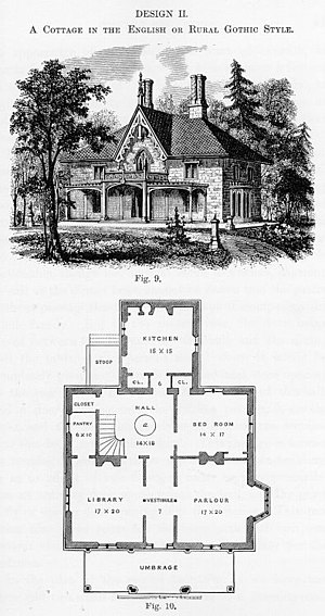 Andrew Jackson Downing - Design II, English or Rural Gothic style, Cottage Residences, 1842.
