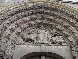 Angers Cathedral - Top of the royal portal of the Cathedral, showing The Christ in His Majesty, surrounded by the symbols of the Four Evangelists