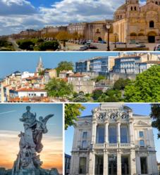 Von oben nach unten, von links nach rechts: Die Kathedrale von Angoulême;  Panoramablick über die Stadt;  Denkmal für Carnot;  Théatre d'Angoulême.