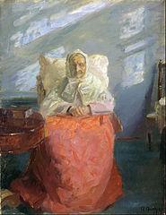 Mrs Ane Brøndum in the blue room