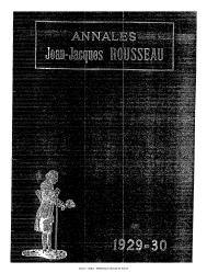 Annales de la société Jean-Jacques Rousseau