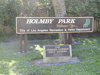 Armand Hammer - Sign of the Armand Hammer Golf Course in Holmby Park in Holmby Hills, Los Angeles