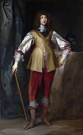 The painting shows a young looking Prince Rupert standing upright, wearing smart court clothes and a large waistcoat. His hair is long, black and curled. He is holding a cane in one hand and looks proud.