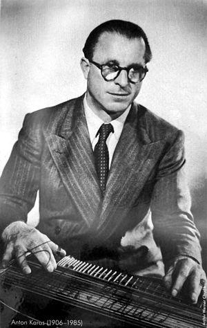 Anton Karas - Karas on a 1951 autograph card