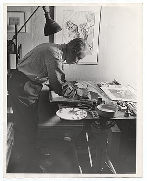 Adolf Dehn - Dehn working on a painting for submission to Art Week, 1940