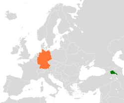 Map indicating locations of Armenia and Germany
